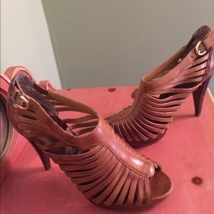 Brown cage sandals